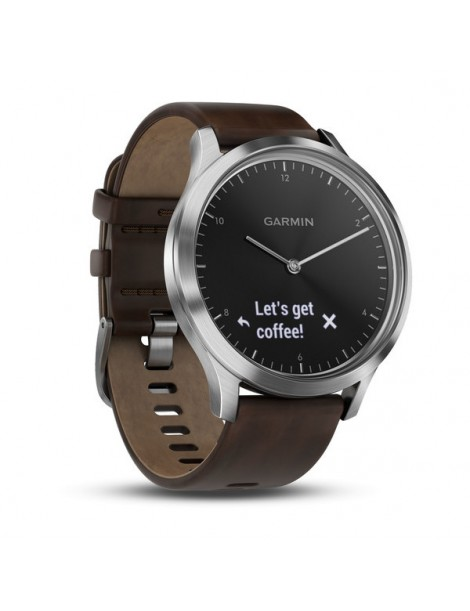 Garmin VIVOMOVE HR Premium серебряные с темно-коричневым кожаным ремешком