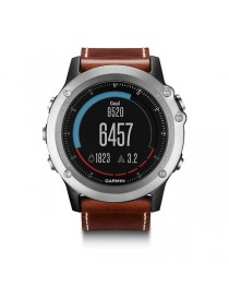 Портативный навигатор Garmin fenix® 3, Sapphire, Silver with Leather Band