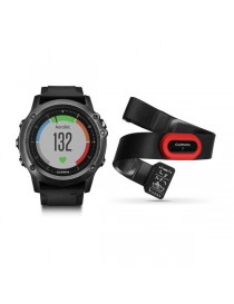 Garmin fenix 3 Sapphire HR – Gray Performer Bundle with black silicone band