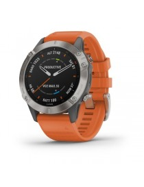 Garmin fenix 6 SAPPHIRE - Titanium with Ember Orange Band
