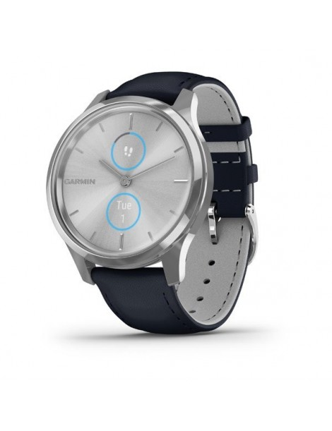 Garmin vivomove Luxe, Silver-Blue, Leather