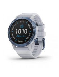 Garmin fenix 6 Pro Solar Mineral Blue Titanium with Whitestone Band