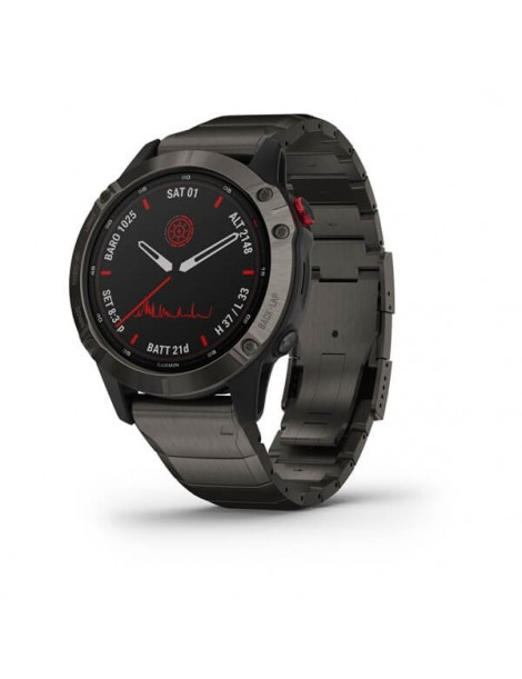Garmin fenix 6 Pro Solar Titanium Carbon Gray DLC with Titanium DLC Band