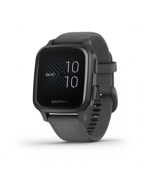 Garmin Venu® Sq - Slate Aluminum Bezel with Shadow Gray Case and Silicone Band