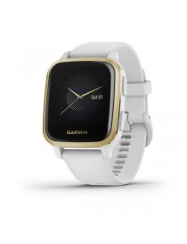 Garmin Venu® Sq - Light Gold Aluminum Bezel with White Case and Silicone Band