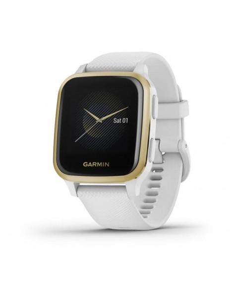Garmin Venu® Sq - Light Gold Aluminum Bezel with White Case and Silicone Band