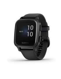 Garmin Venu® Sq Music - Slate Aluminum Bezel with Black Case and Silicone Band