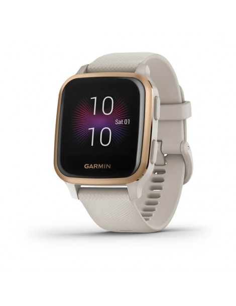 Garmin Venu® Sq Music - Rose Gold Aluminum Bezel with Light Sand Case and Silicone Band