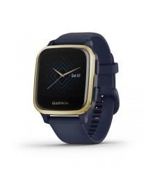 Garmin Venu® Sq Music - Light Gold Aluminum Bezel with Navy Case and Silicone Band