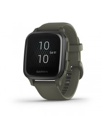 Garmin Venu® Sq Music - Slate Aluminum Bezel with Moss Case and Silicone Band