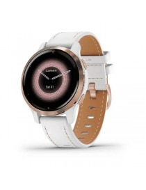 Venu 2S Rose Gold with White Leather Band