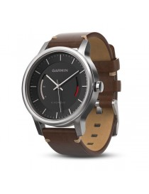 Garmin vivomove Premium, со стальным корпусом и коричневым кожаным ремешком