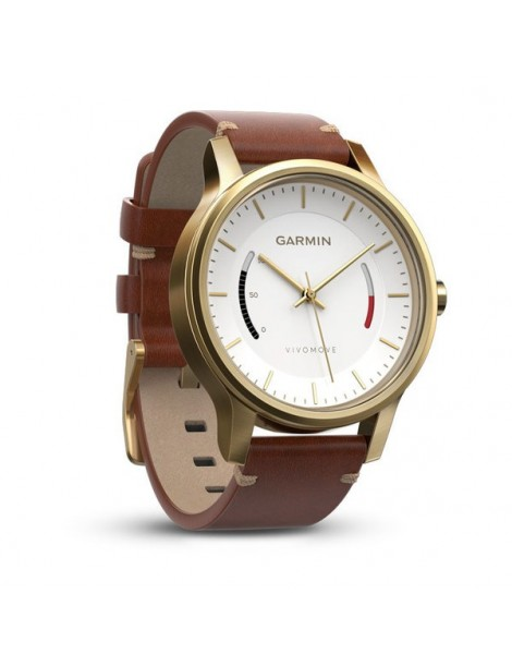 Garmin vivomove Premium, золотистые со стальным корпусом и коричневым кожаным ремешком
